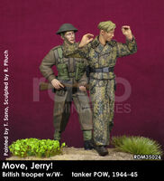 Move, Jerry! British trooper w/W-SS tanker POW, 1944-45 - Image 1