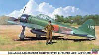 Mitsubishi A6M2b Zero Fighter Type 21 Super-ace with Figure - Image 1