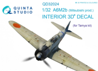 A6M2b (Mitsubishi prod.) 3D-Printed & coloured Interior on decal paper