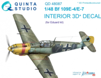 Bf 109E-4/E-7 3D-Printed & coloured Interior on decal paper