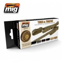 A.MIG 7105 Tires & Tracks - Acrylic paint set for rust, chipping & all corrosion effects.