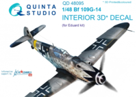 Bf 109G-14 3D-Printed & coloured Interior on decal paper