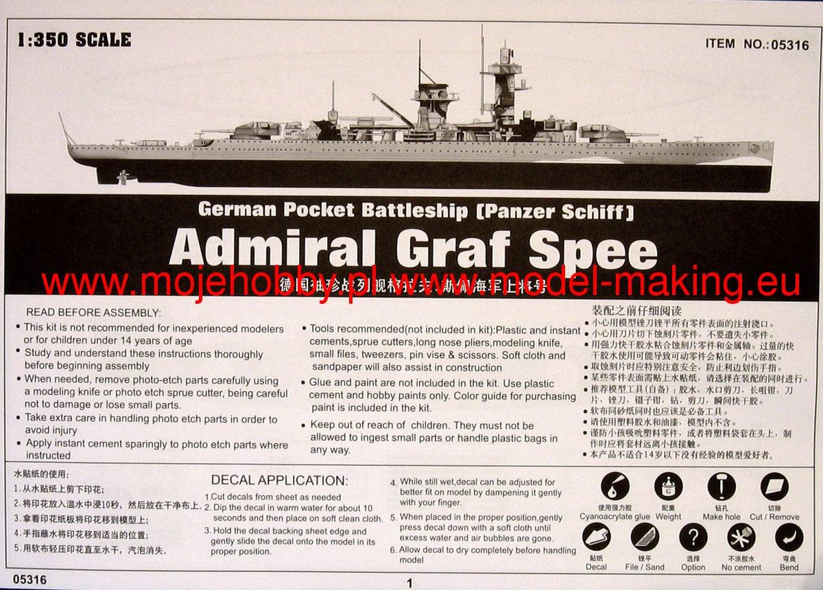 Trumpeter 1//350 05316 German Admiral Graf Spee