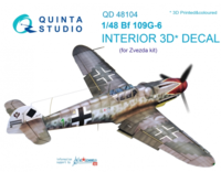 Bf 109G-6 3D-Printed & coloured Interior on decal paper