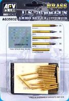 US 76mm Brass ammo set. Includes M42A1, M93, M62A1, M79 and Cartridge (4 of each) plus decal - Image 1